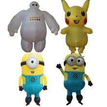 Yetişkin Minion Kostüm Şişme Minion Baymax Anime Cosplay Pikachu Maskot süslü elbise Cadılar Bayramı Minion Kostüm Kadınlar Erkekler Için