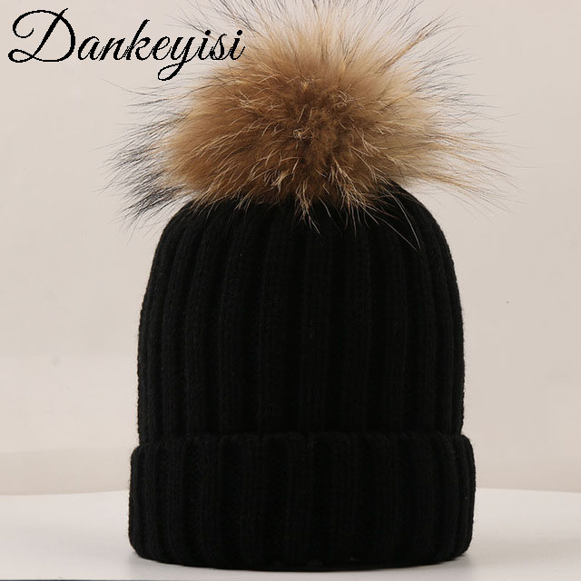 DANKEYISI Mink Fur Ball Cap Fur Pom Poms Skullies Beanies Boy Winter Hat For Children Girl Hat Knitted Beanies Thick Female Cap