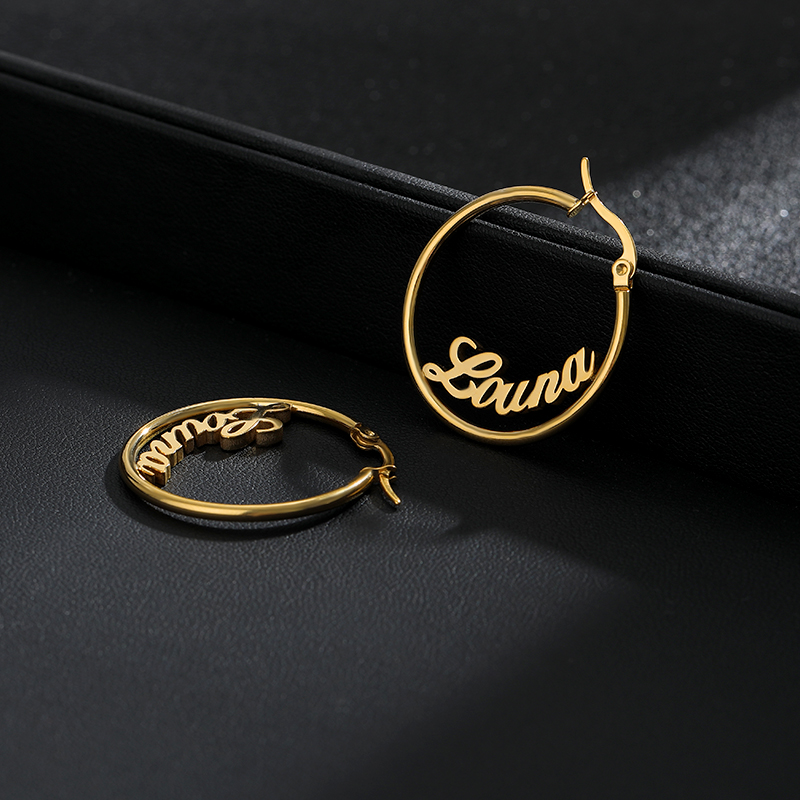 Big Round Circle Custom Name Stud Earrings For Women Nameplate Personalized Stainless Steel Pendientes Mujer Moda 2019