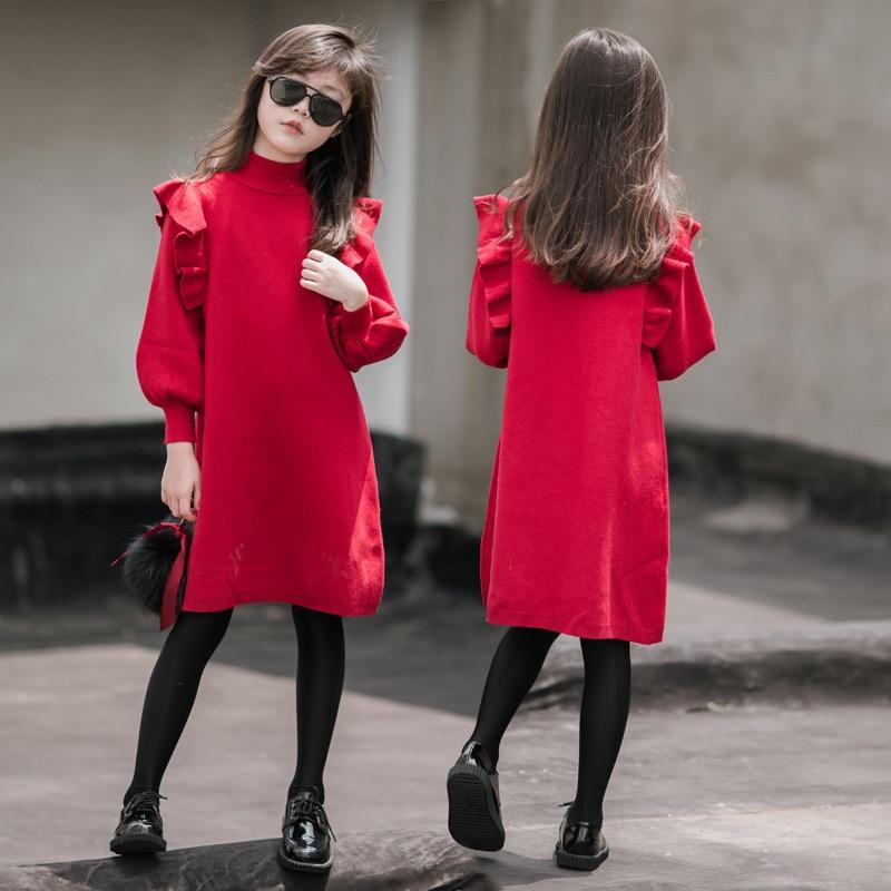 Nouveau bébé robe de princesse 2019 enfants automne pull robe filles chandail mère et fille robes douces vêtements de base froncé, #5385