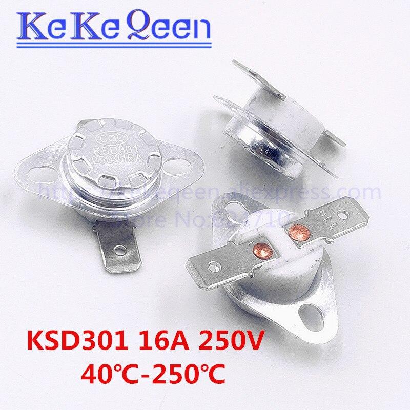 KSD301 250V 16A 40 ~ 135Degc фиксированное кольцо с плоской стопой, нормально закрытый переключатель температуры 45 50 55 60 70 80 100 110 115 120 125 130 135C