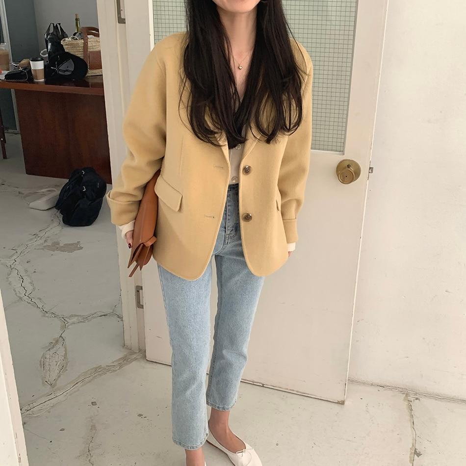 H0567634ab81a44759dd7745e3ea66b3e6 - Winter Korean Revers Collar Solid Woolen Short Coat