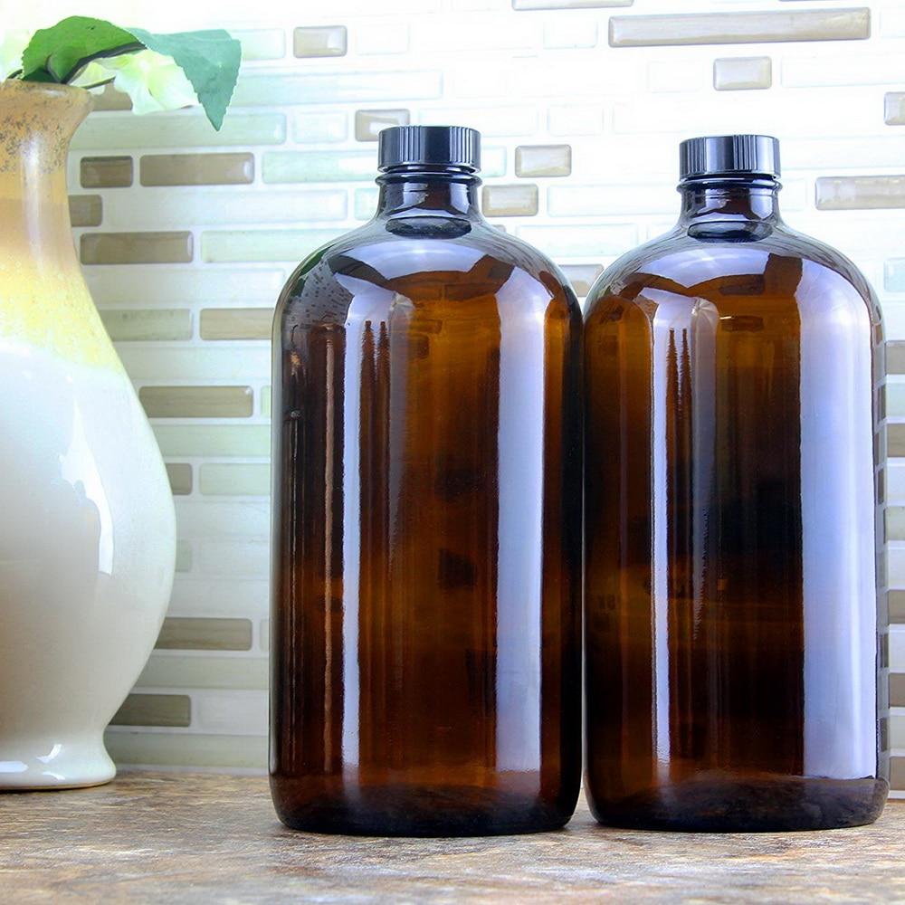 2 stücke 32 unzen Bernstein Glas Growler Leere Kombucha Flaschen mit Air Engen Dichtung Kappe Deckel für Sekundäre Gärung Speicherung 1 Liter