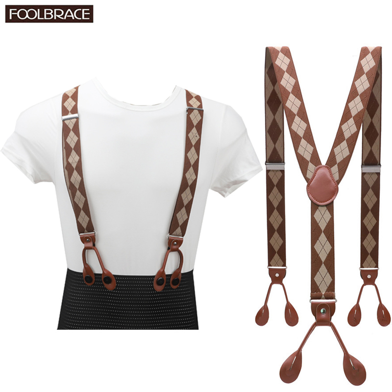 Unisex Vintage Suspenders Men Braces Adjustable 6 Button Suspender Elastic Y-Shape Strap Pants Trousers Brown Leather PU