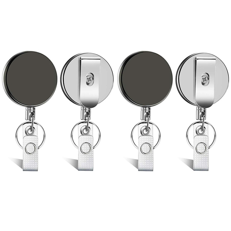 4 Pieces Professional Heavy Duty Retractable Badge Holder Badge Reels ID Holder With Keychain Ring Clip For ID Card Carabiner Ke
