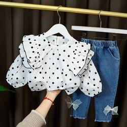 Комбинезон в горошек, джинсовые брюки, комплекты для девочек, детская одежда, костюмы для девочек на осень и весну, костюм принцессы, повседн...