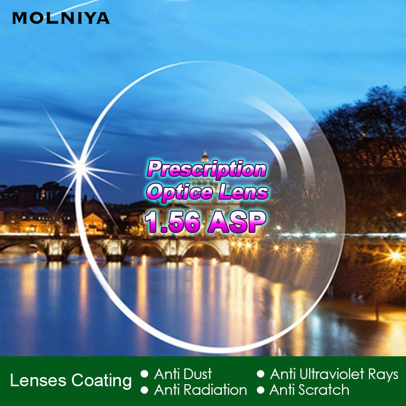 MOLNIYA Radiation Protection Index 1.56 Clear Optical Single Vision Lens HMC, EMI Aspheric Anti-UV Prescription Lenses,2Pcs