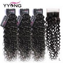 YYong волосы бразильские волосы плетение пряди с закрытием волна воды 3 пряди с закрытием Remy человеческие волосы пряди с кружевом