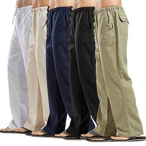 Casual Trousers Pantalones-Pants Pockets Linen Drawstring Cargo Loose Ealstic-Waist Male