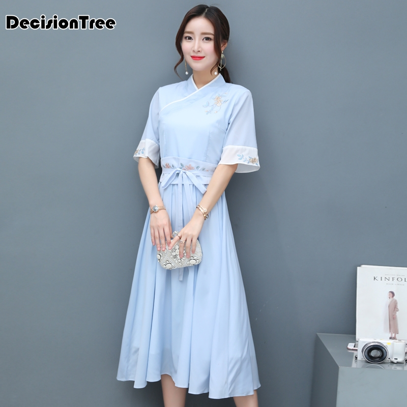 2019 Woman White Print Aodai Vietnam Traditional Clothing Ao Dai Vietnam Dress Vietnam Costumes Improved Cheongsam Dress