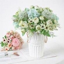 цена на 7 Heads Hydrangea Tea Bud Hybrid Flowers Artificial Floral Bouquet Silk Blooming Fake Tea Bud Hand Flower Wedding Decorations M