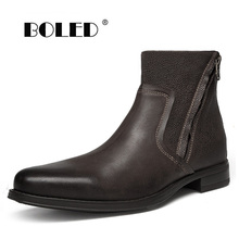 Natural Cow Leather Chelsea Boots Men Retro Style Zip Ankle Boots Shoes Rubber Sole Waterproof Autumn Shoes Men Zapatos Hombre