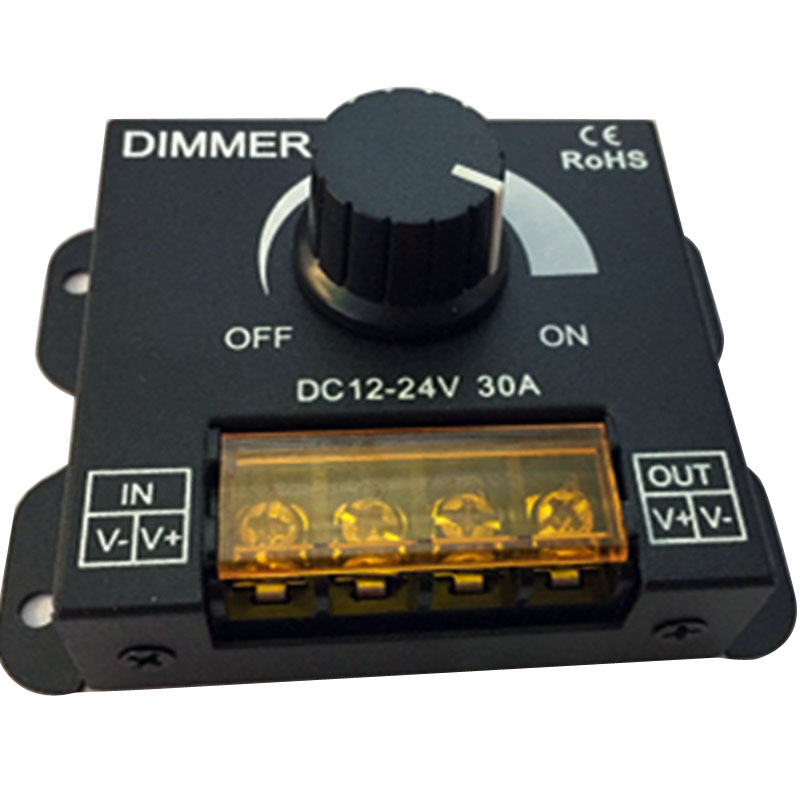 DC12V-24V LED Dimmer 8A 30A 96W 360W Adjustable Brightness Lamp Single Color Strip Light 5050 3528 Tape LED Controller