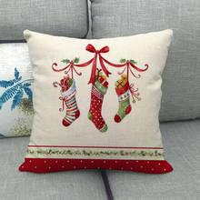 1pcs Christmas Gift Christmas Santa Claus Cushion Cover Pillow Box Square Car Home Christmas Sofa Decoration Pillow Case pillow cover christmas snow man home decoration