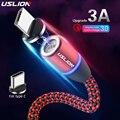 Магнитный зарядный кабель USLION 3A, Micro USB Type C, шнур для быстрой зарядки для iPhone 11, X, Samsung S10, S9, Redmi Note