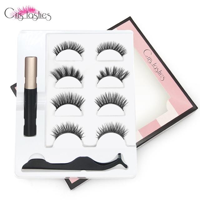 Crislashes 4 Pairs Magnetic Eyelashes Set With 4 Magnetic Lashes Magnet Liquid Eyeliner Tweezers Natural Handmade False Eyelash 1