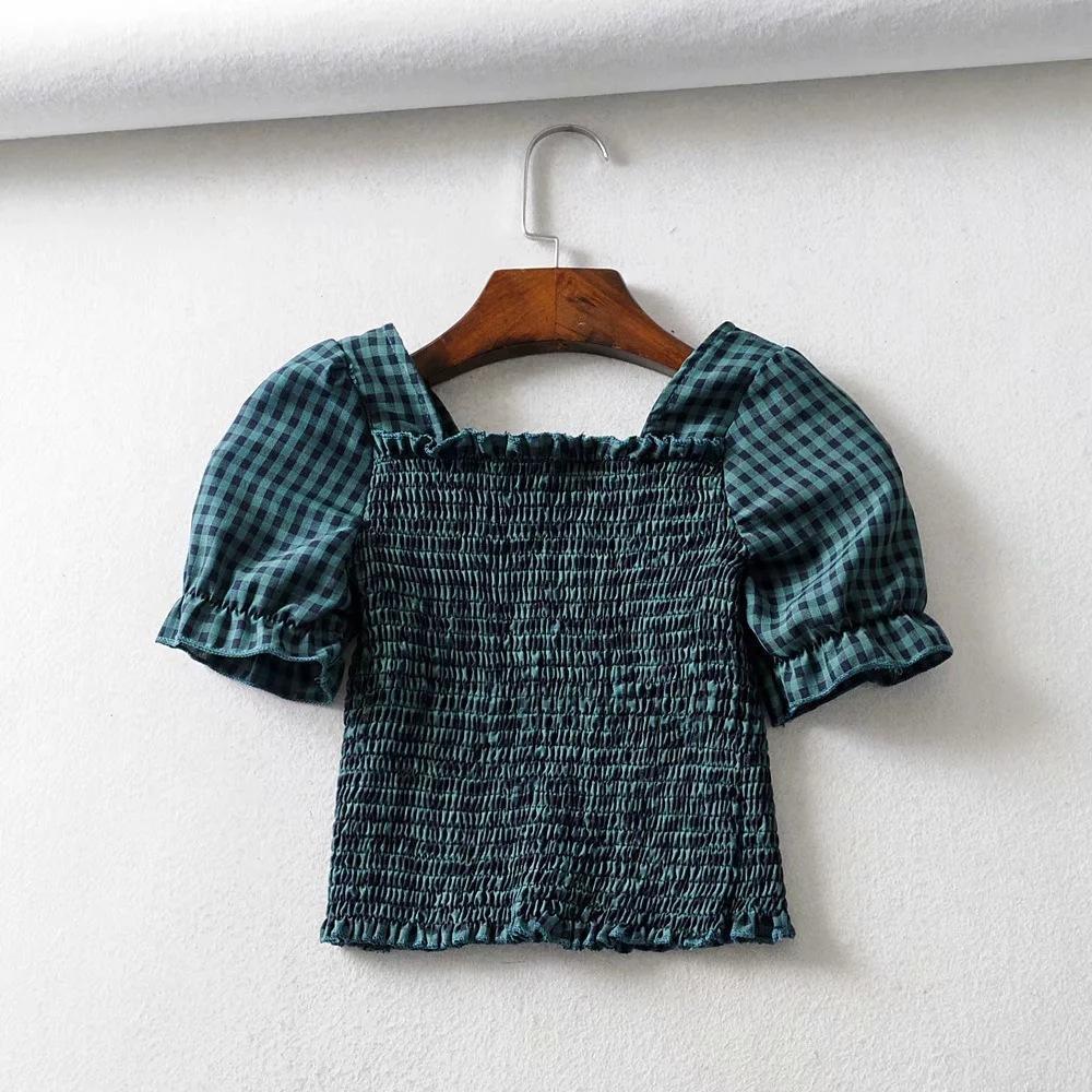 2019 Autumn Summer Women 39 s Blouses Shirts Casual Square Collar Short Sleeve Drape Plaid Women Blouses Shirt for Woman in Blouses amp Shirts from Women 39 s Clothing