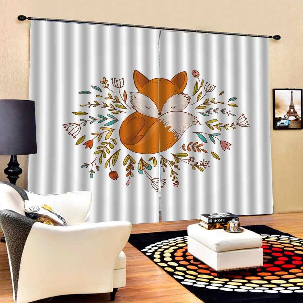 rideaux de fenetre aquarelle motif renard rideau en tissu pour chambre foncee rideaux decoratifs pour enfants