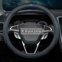 Leather Car Steering Wheel Cover for Ford Grand C Max Fiesta Figo Fusion Mondeo Focus GT Ka Mustang Taurus Ranger Edge focus