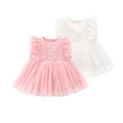 Платья для новорожденных девочек, платья принцессы для девочек, хлопковая кружевная одежда на свадьбу, день рождения, 1 год, летние белые пла...