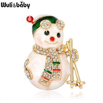 Wuli&baby Lovely Enamel Snowman Brooches Women Rhinestone Christmas New Year Brooch Pins Gifts enamel bird shape with rhinestone on branches brooches