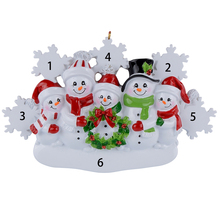Snowman Family of 5 Resin Hang Christmas Ornaments With Glossy Snowflake As Craft Souvenir For Personalized Gifts or Home Decor