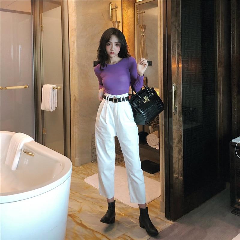 Photo Shoot 2019 Short Navel Tops Base Shirt + High-waisted Loose-Fit Pants Capri Pants Trousers Belt