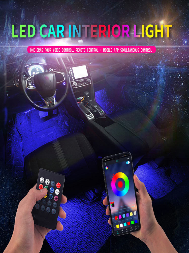 Car-Foot-Ambient-Light Decorative Led Music-Control-App Auto Interior Backlight