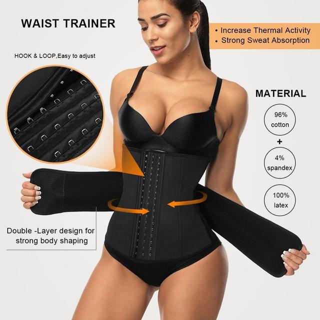 Lover Beauty 7 Steel Boned 3 Rows Hook Waist Trainer Belt Latex Waist Cincher Corset Underbust Body Fajas Sweat Slimming Belt A 3