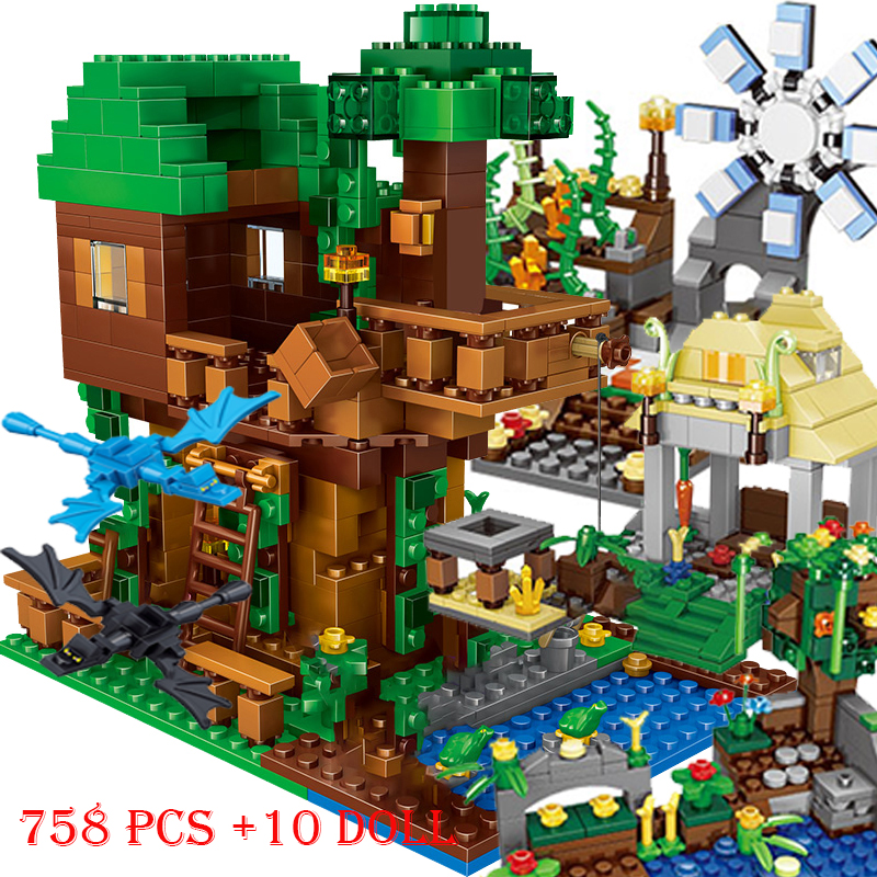 Blocs de construction My world, 1208 pièces, grotte de montagne, Village, cheval de guerre, maison, arbre, élévateur avec figurines, briques, jouets, cadeau pour enfants