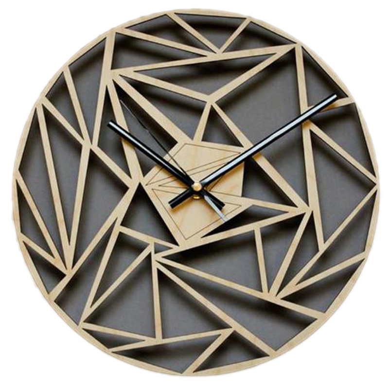 Fashion Creative Geometric Pattern Wall Clock Wall Wall Art Deco Clock Hanging Table Quartz Clock Wooden Wall Clock
