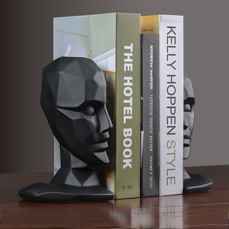 Resin Human Face Brain Bookends Vintage Book Stand Adjustable Bookshelf Stand for Books Home Office Decorations Desk Organizer