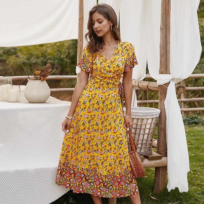 Summer 2020 New Women's Bohemian Floral Irregular Dress With Long Dress