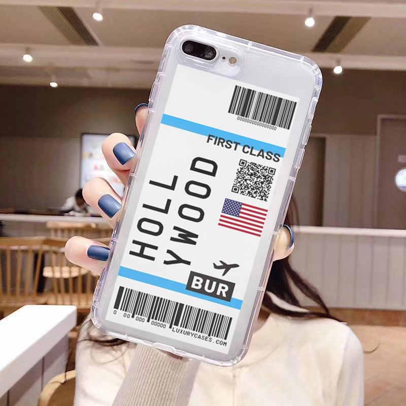 Première Classe Mondiale Ville Étiquette code à Barres Téléphone étui pour iphone 11 Pro Xs MAX XR X 7 8 plus Billet D'avion Clair Couverture en silicone souple