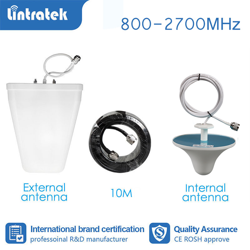 Lintratek Full Set Booster Accessories Antenna For Signal Booster Amplifier GSM 2G 3G 4G 850 800-2700mhz 10 Meter Cable  S4