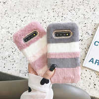 LAPOPNUT Cover Soft Furry Plush Phone Case for Samsung Galaxy A51 A71 J6 2018 J4 Plus A8 A70 A7 A6 A50 A40 A20e A20 A10 A30