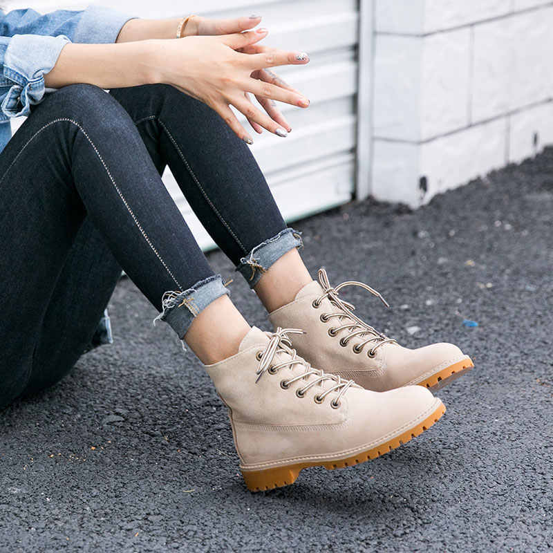 BeauToday motosiklet botları kadın hakiki deri dantel-up sonbahar kış inek süet bayan ayak bileği çöl botları el yapımı 04201