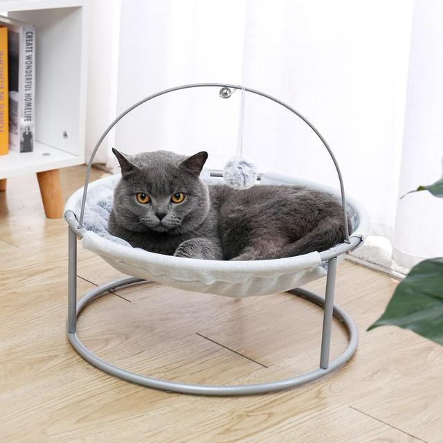 Pet Cat Bed Soft Plush Nest Cat Hammock Detachable Mat Pet Bed with Dangling Ball for Cats Small Dog Squar Tumbler Rocking Chair 2