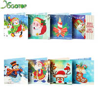 YOGOTOP Hot Sale Diy Diamond Painting Card Shinny Special Emboridery Kits Christmas Greeting Cards Santa Claus Merry Christmas