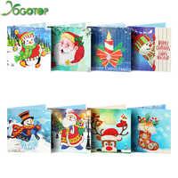 YOGOTOP Hot Sale Diy Diamond Painting Card Shinny Special Emboridery Kits Christmas Greeting Cards Santa Claus Merry Christmas