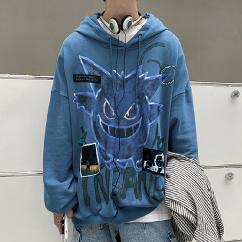 Autumn Winter New Devil Hoodie Men Fashion Casual Hoodies Loose Fleece Hip Hop Streetwear Men's Sweatshirt Anime Clothes 4
