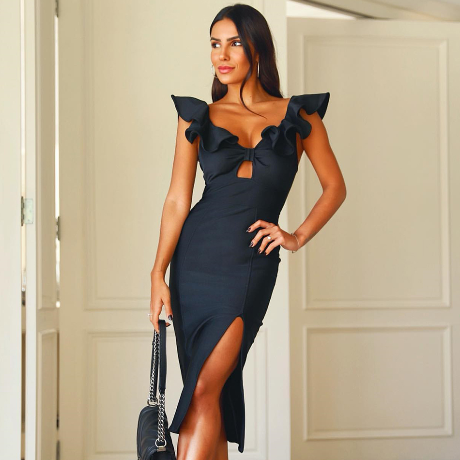 Adyce New Summer Black Butterfly Sleeve Bandage Dress Women Sexy Hollow Out Ruffles Club Celebrity Evening Party Dress Vestidos