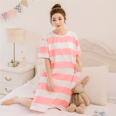 Nightgown Women's Summer Cotton Korean-style Cute Sweet Fresh Short Sleeve Students-Outer Wear Mid-length Loose-Fit GIRL'S Large