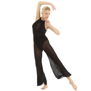 Image 5 - Bale kadın lirik dans kostümleri Halter boyun kolsuz aç geri pullu dantel ekleme korse Flare Culottes bale mayoları
