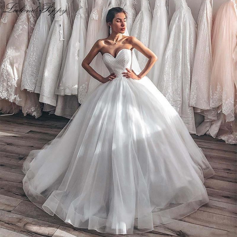 Luxury Ball Gown Tulle Wedding Dresses 2020 Strapless Floor Length Vestido De Novia Crystal Beaded Bridal Gowns Corset Back