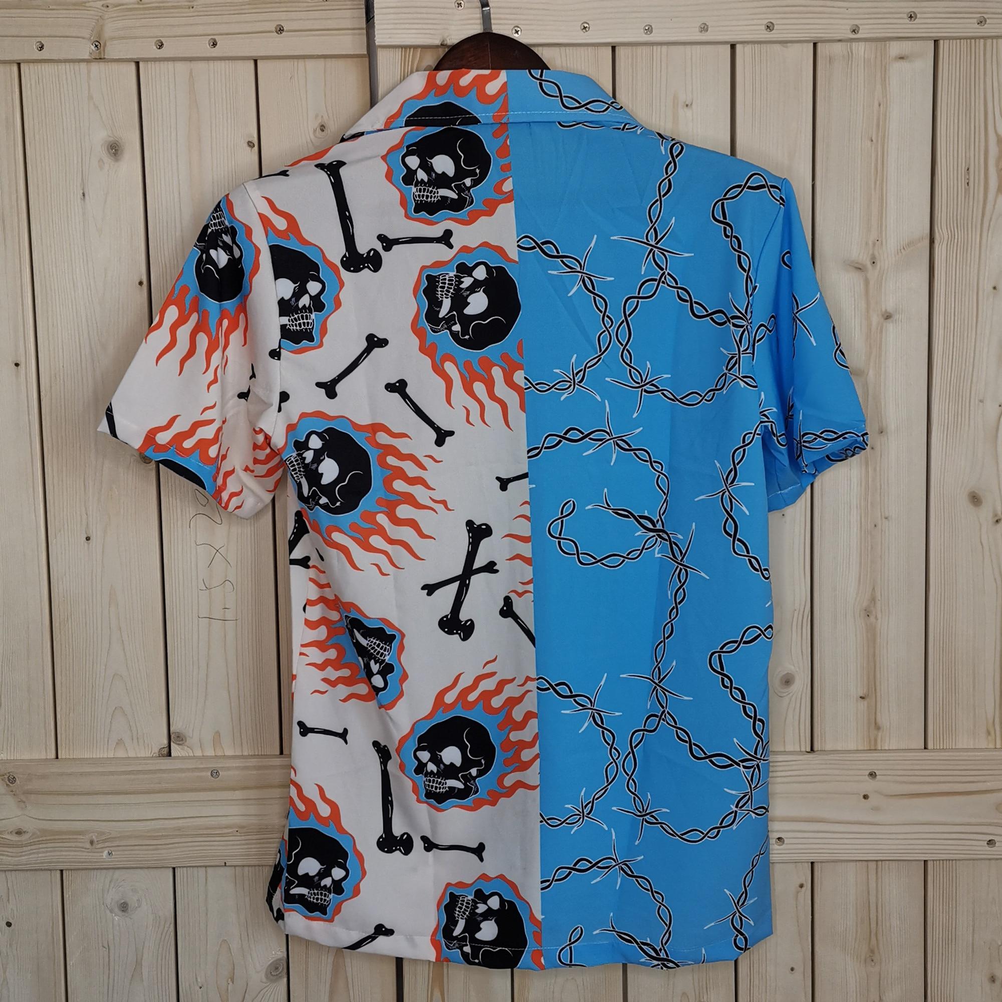OSCN7 Повседневная рубашка с принтом и коротким рукавом для мужчин, уличная 2020, Гавайский пляж, большие размеры, женская мода, харуджуку, рубаш...