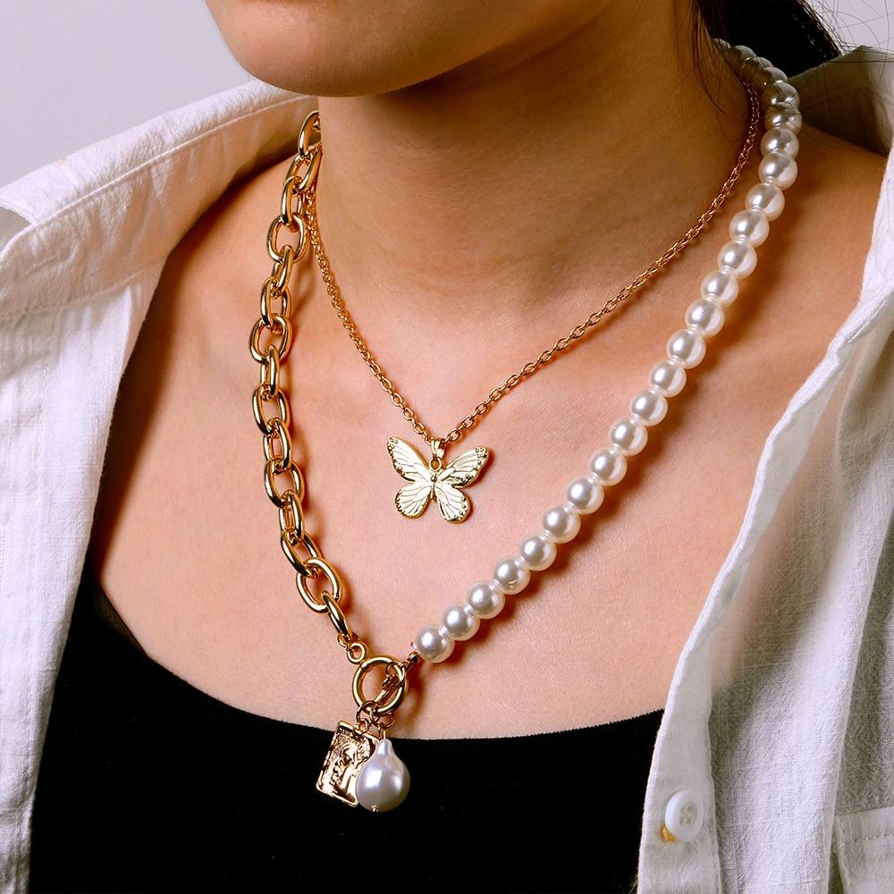 Женское винтажное ожерелье с жемчужной подвеской-бабочкой