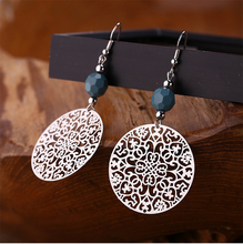 Hello Miss Hollow round fashion earrings pop ornament pendant jewelry womens gift