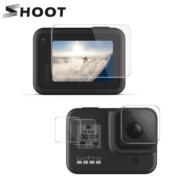 تبادل لاطلاق النار ل Gopro بطل 8 الأسود الزجاج المقسى حامي الشاشة شاشة LCD فيلم واقية ل الذهاب برو بطل 8 الذهاب برو 8 كاميرا الوصول