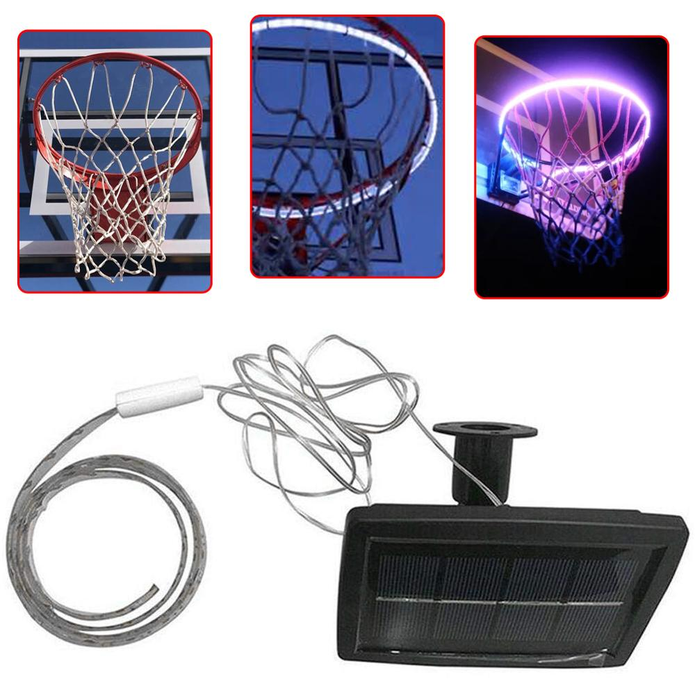 LED Basket Hoop Solar Basketball Rim Playing At Night Shooting For Outdoor Night Adult Children Training Game